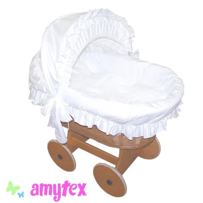 AMYTEX Proutěný košík pro miminko s boudou - bílý SATÉN (plná výbava)