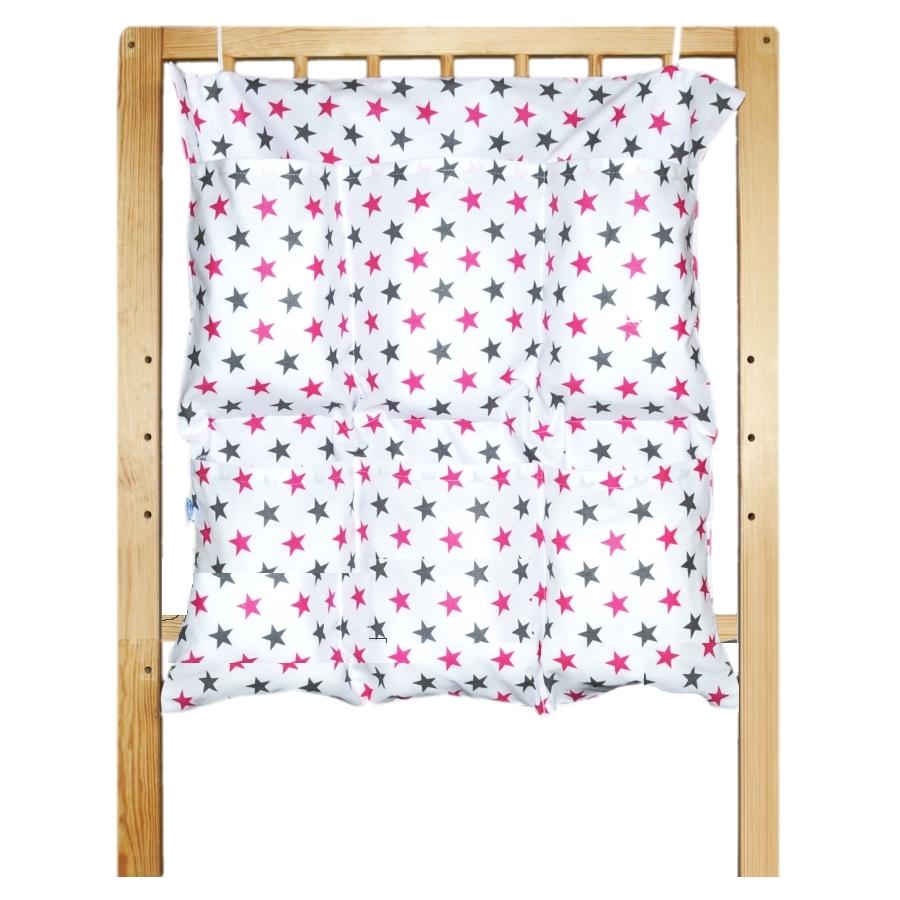 Bavlněný kapsář na postýlku - Růžové hvězdičky na bílé