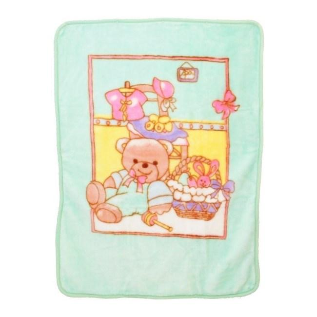 BABYMIX Dětská španělská deka - zelená medvídek