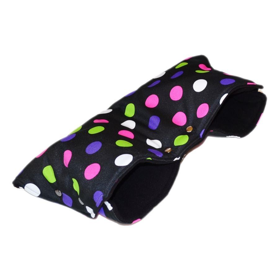 Baby-Tex Zimní rukávník na kočárek - barevné puntíky na černé/černý fleece