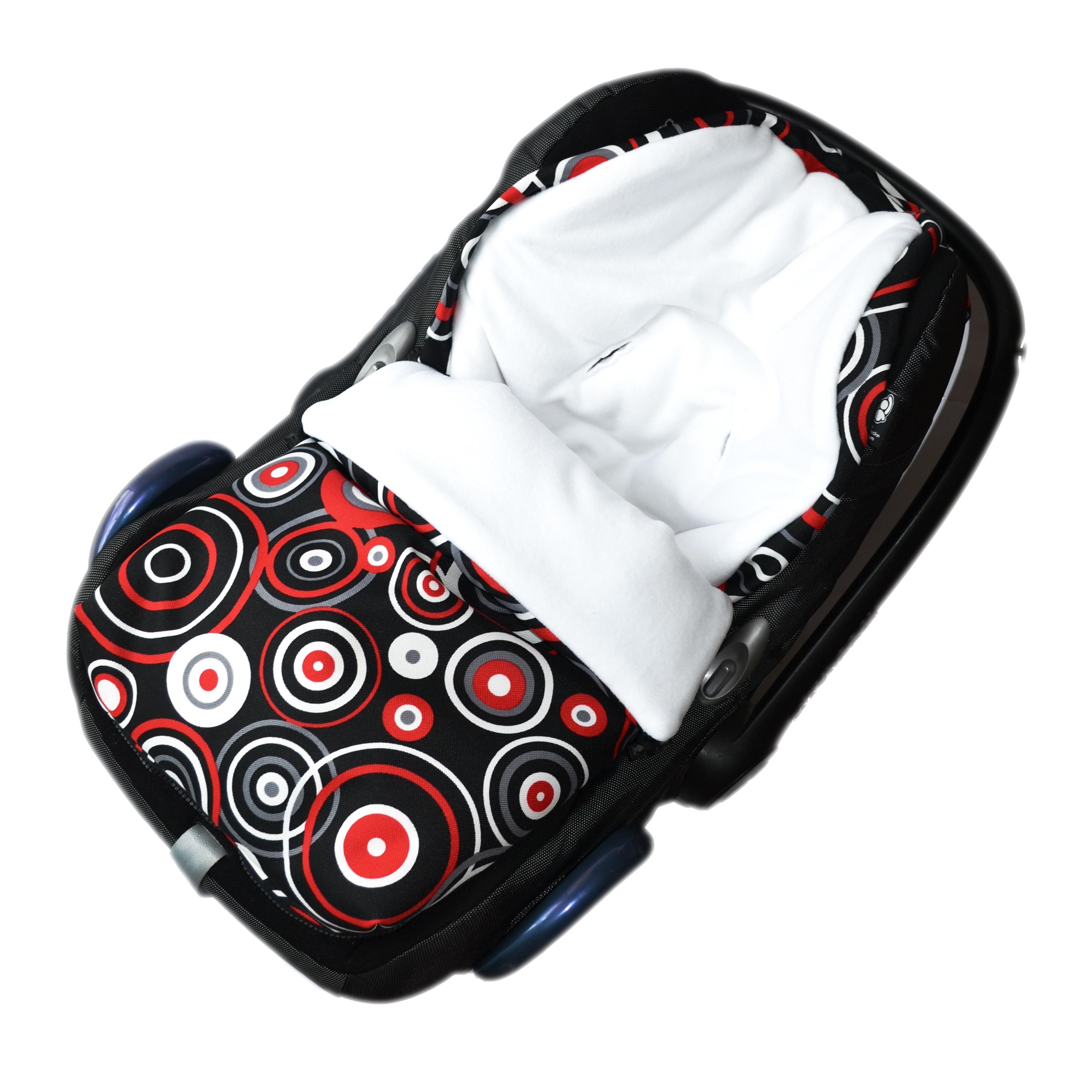 Fusak do autosedačky nebo korbičky - bílý fleece/černá s kruhy (bílé, červené)