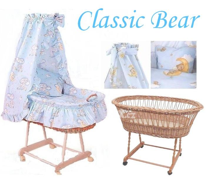 AMYTEX Proutěný košík pro miminko CLASSIC medvídek na mráčku modrý (plná výbava)