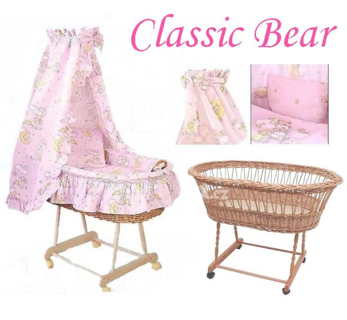 AMYTEX Proutěný košík pro miminko CLASSIC medvídek na mráčku růžov (plná výbava)