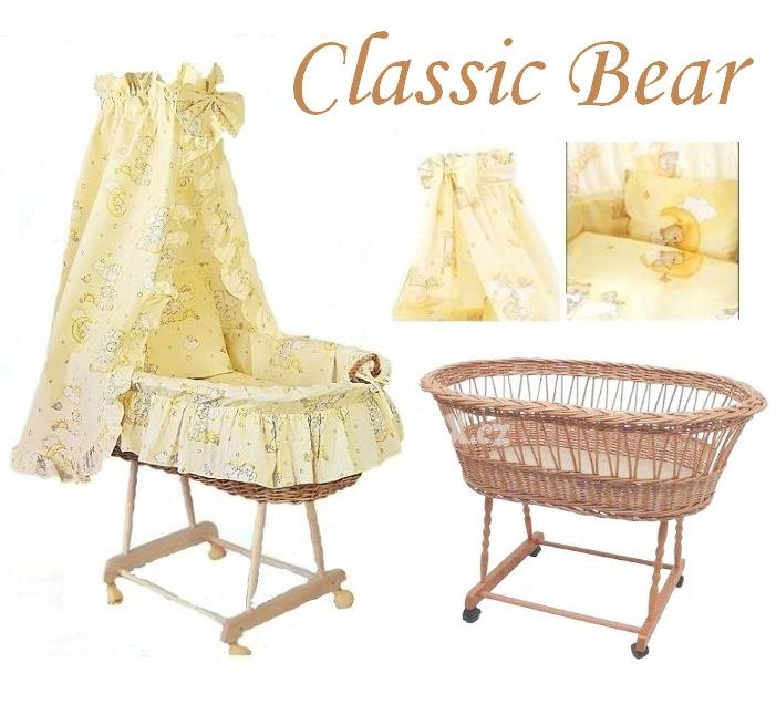 AMYTEX Proutěný košík pro miminko CLASSIC medvídek na mráčku žlutý (plná výbava)