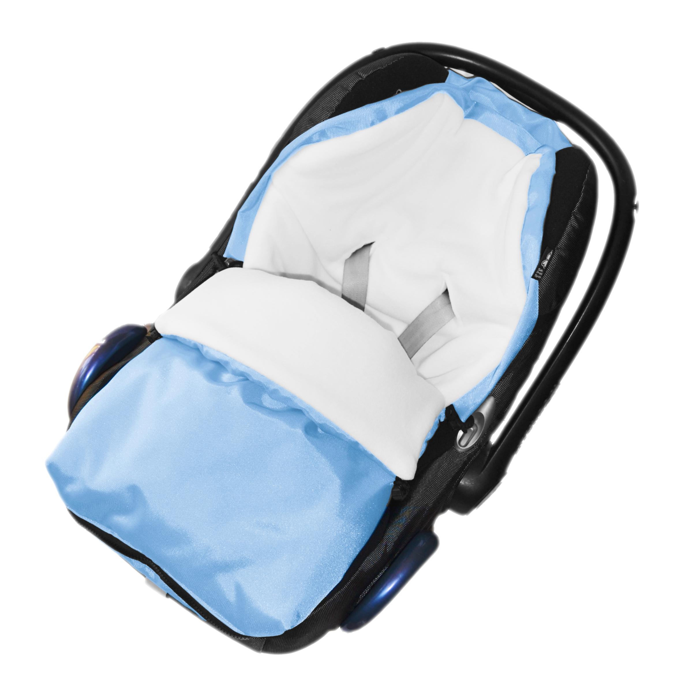 Fusak do autosedačky nebo korbičky - bílý fleece/světle modrý