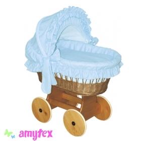AMYTEX Proutěný košík pro miminko s boudou - modrý (plná výbava)