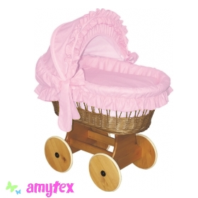 AMYTEX Proutěný košík pro miminko s boudou - růžový (plná výbava)