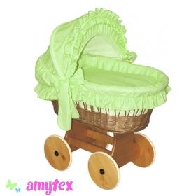 AMYTEX Proutěný košík pro miminko s boudou - zelený (plná výbava)