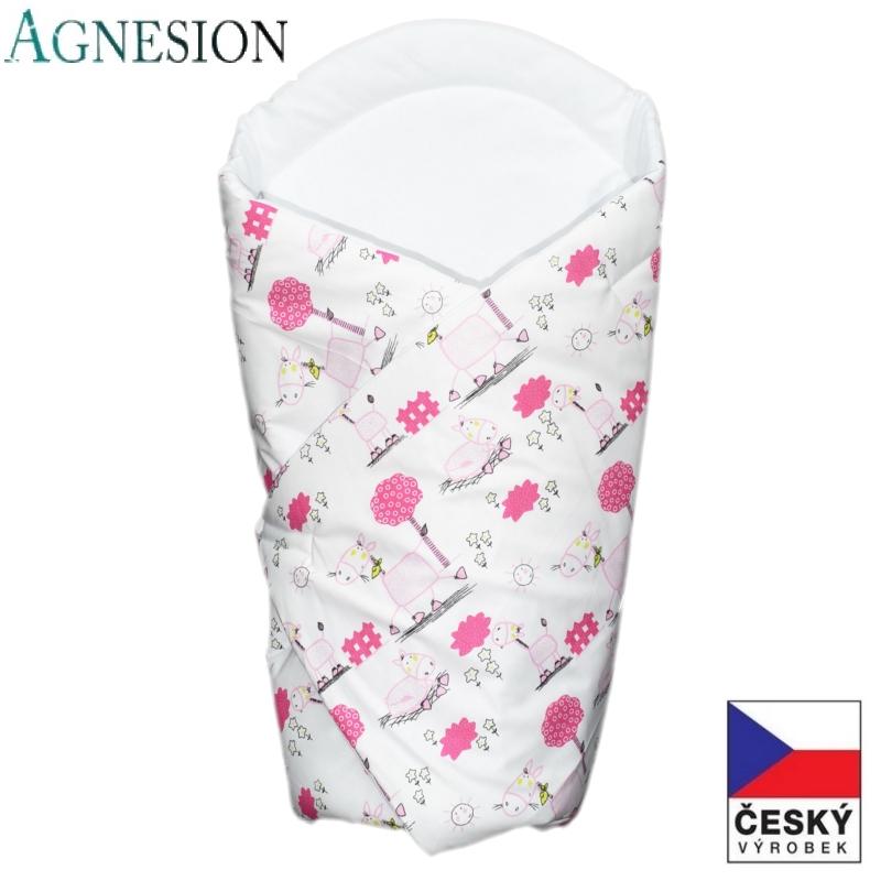 Agnesion Bavlněná rychlozavinovačka růžový koníci na bílé