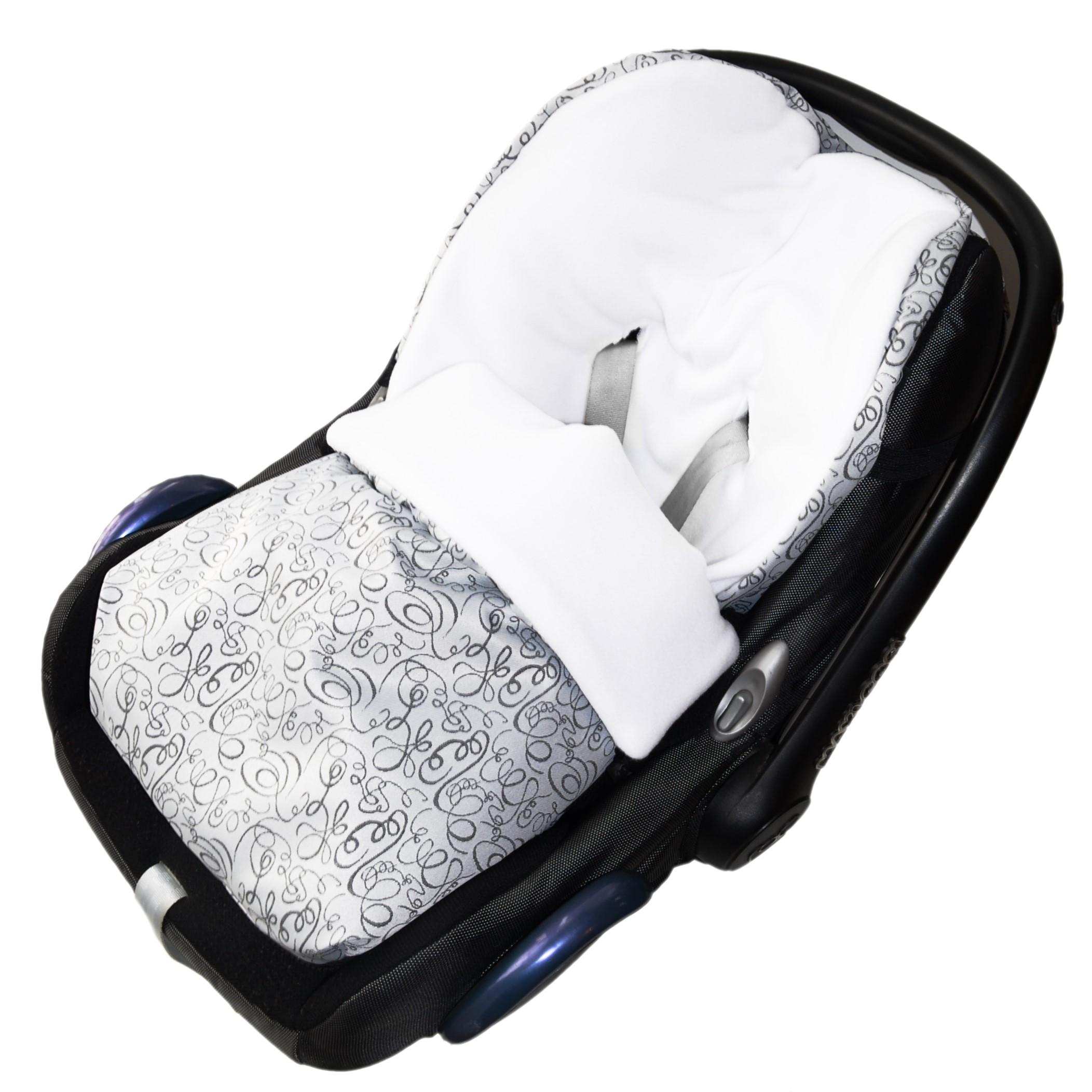 Fusak do autosedačky nebo korbičky - bílý fleece/silver ornament