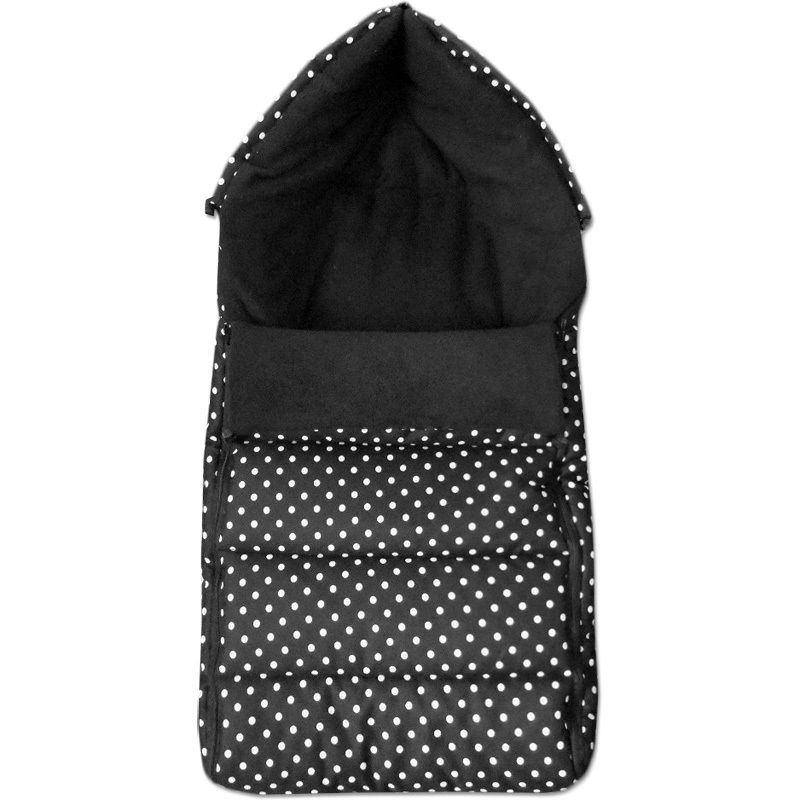 Babytex zimní fusak délka 105cm - černá s puntíkem/černý fleece