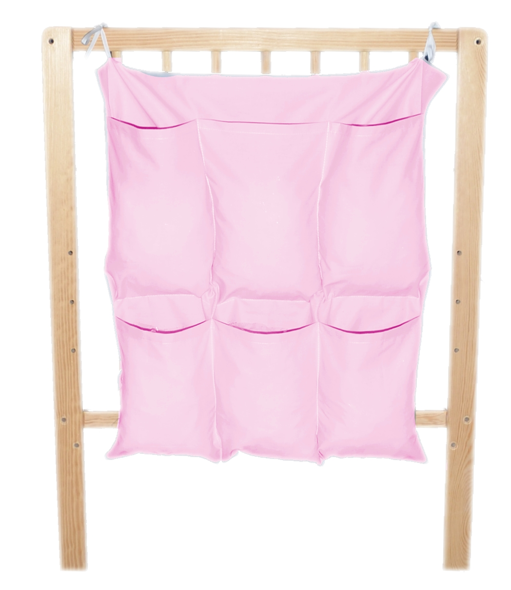 Bavlněný kapsář na postýlku - jednobarevný růžový (BB7)