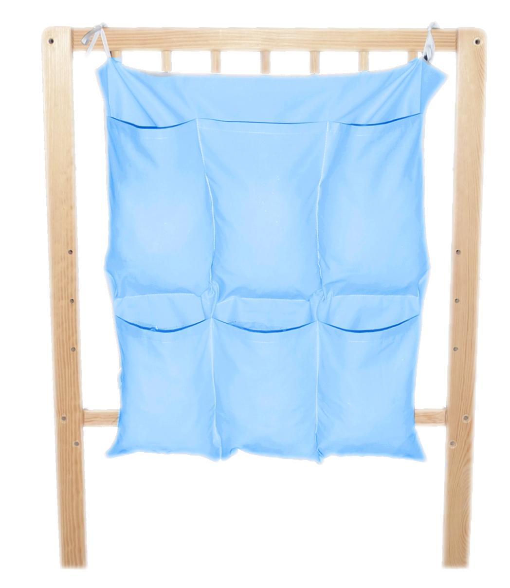 Bavlněný kapsář na postýlku - jednobarevný modrý (BB7)