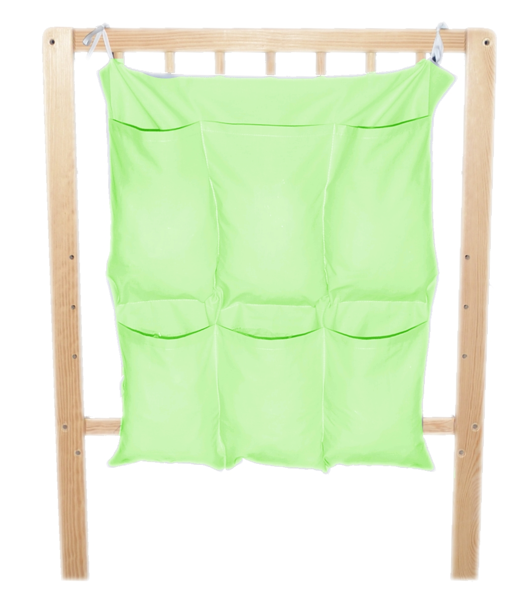 Bavlněný kapsář na postýlku - jednobarevný zelený (NA OBJEDNÁVKU)