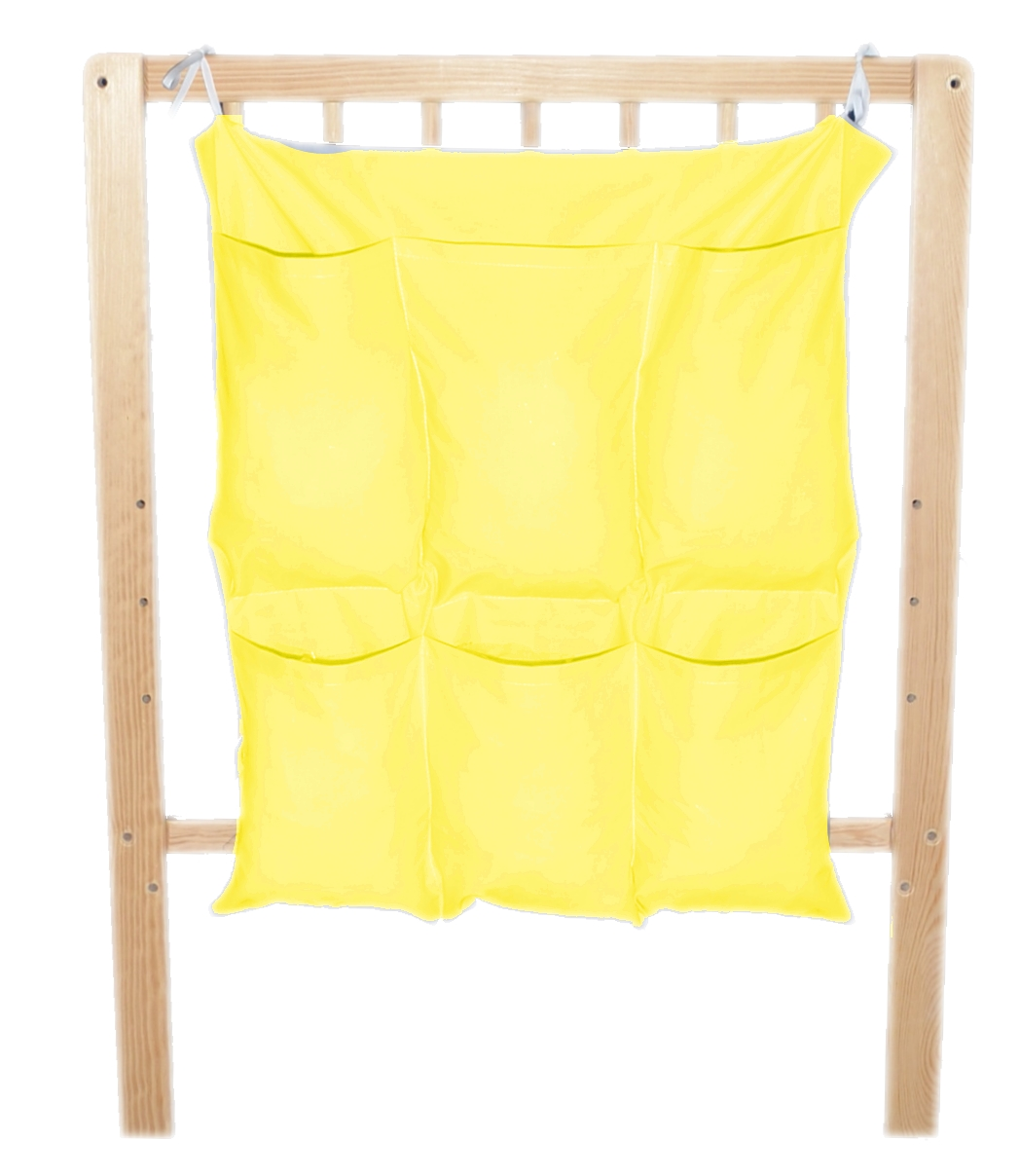 Bavlněný kapsář na postýlku - jednobarevný sytě žlutý (BB7)