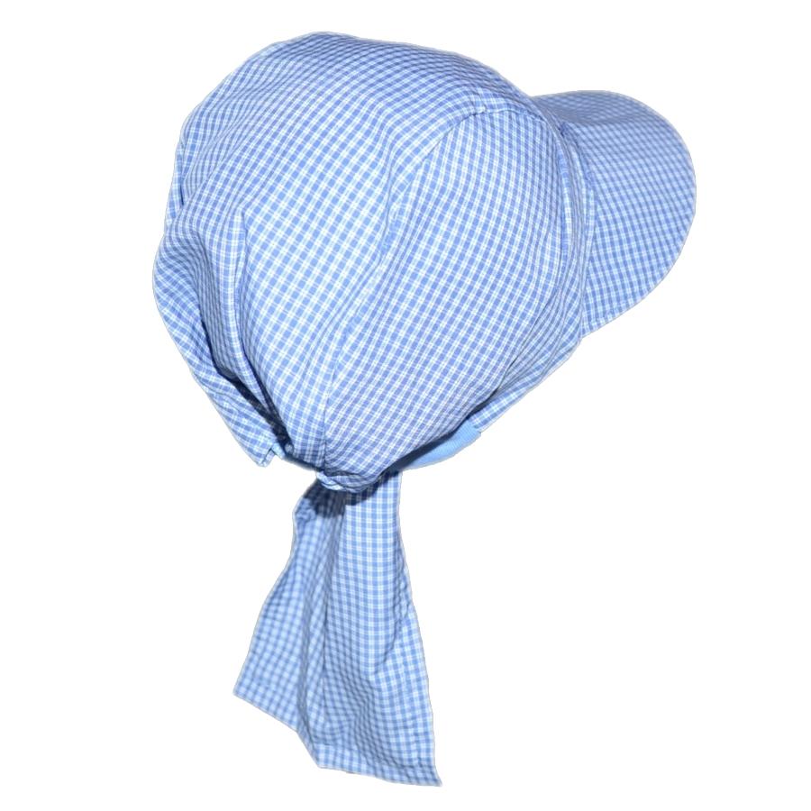 Agnesion Plátěná pirátka s kšiltem velikost 86 (5) - modrá káro malá kostička