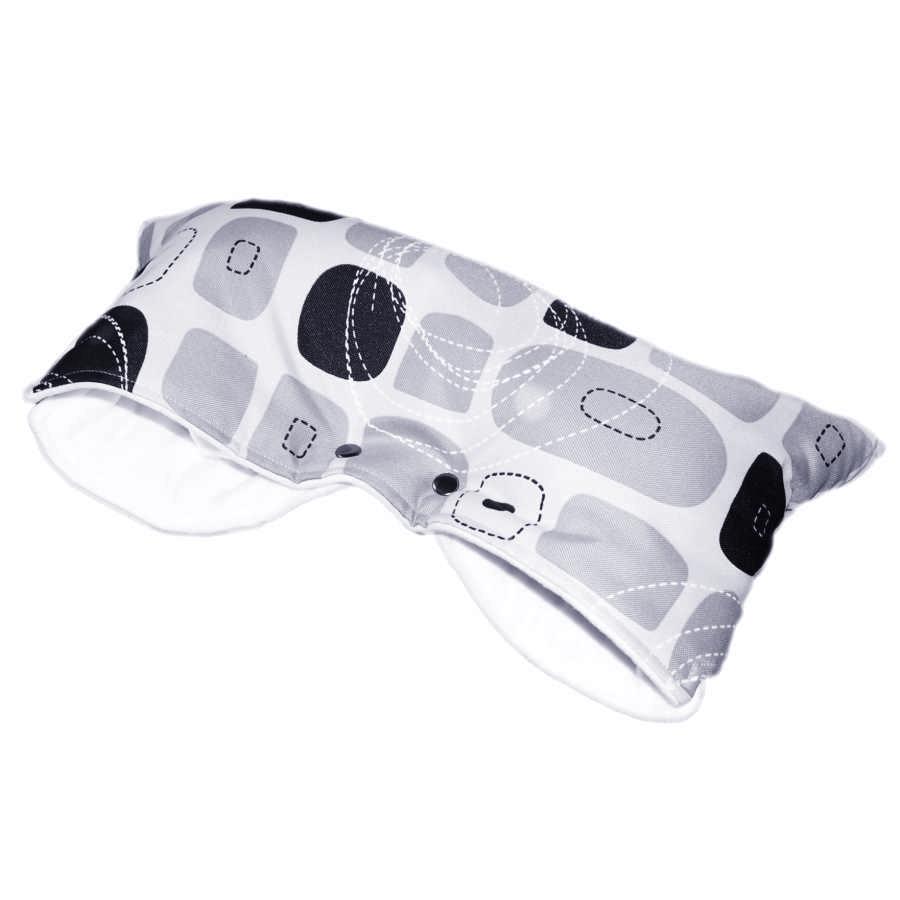 Baby-Tex Zimní rukávník na kočárek - šedé čtverce/bílý fleece