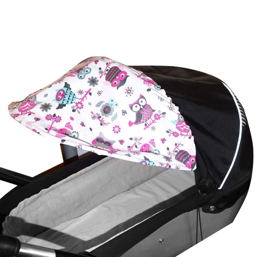 Sluneční kšilt na kočárek s UV filtrem - sovičky růžové