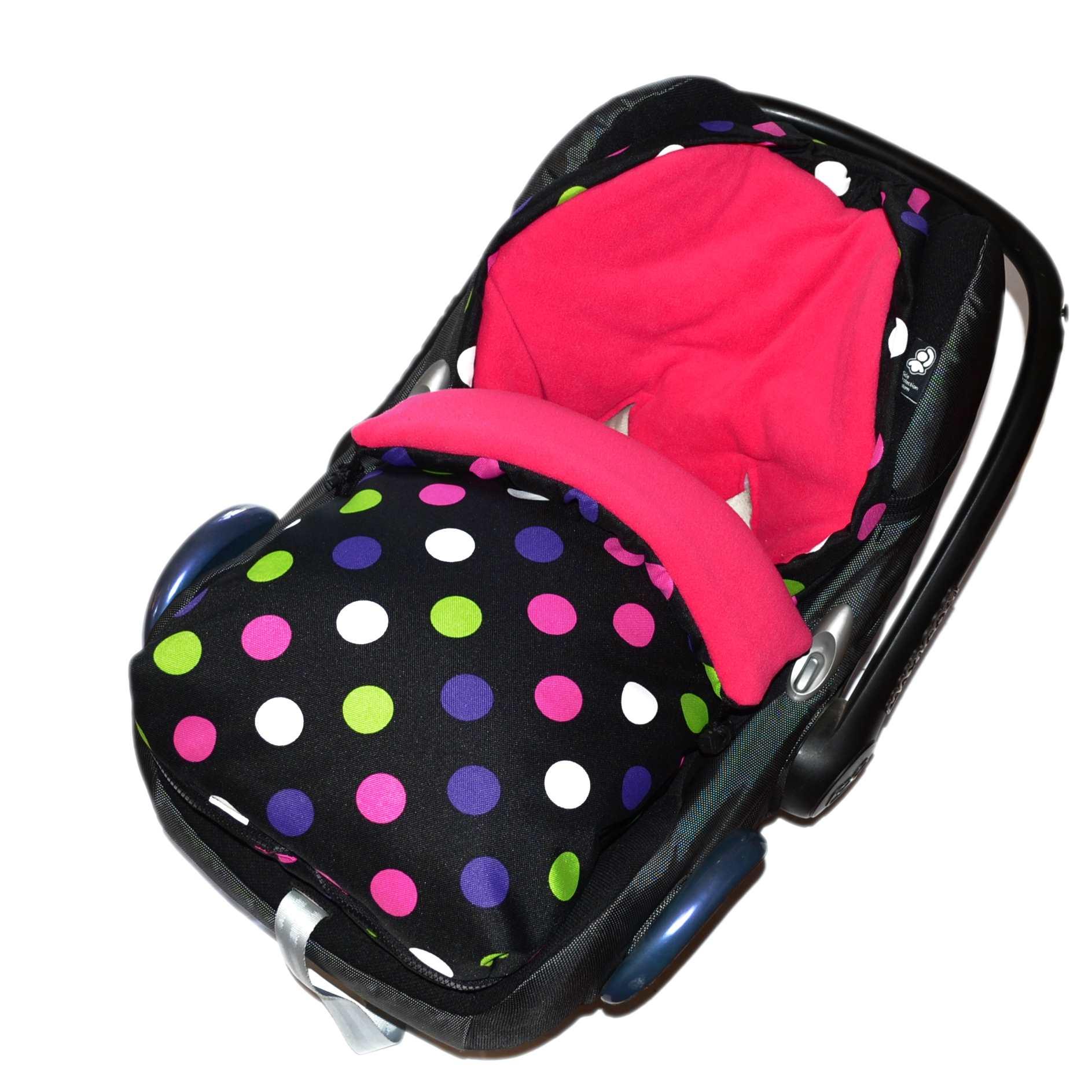 Fusak do autosedačky nebo korbičky - růžový fleece/barevné puntíky na černé