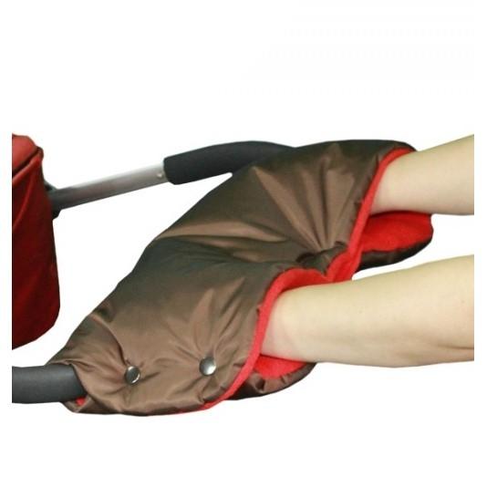 AKCE - Emitex rukávník na kočárek - hnědý/červený