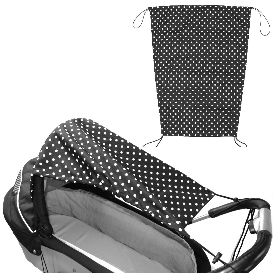 Sluneční clona na kočárek s UV filtrem na šňůrky - černá bílé puntíky
