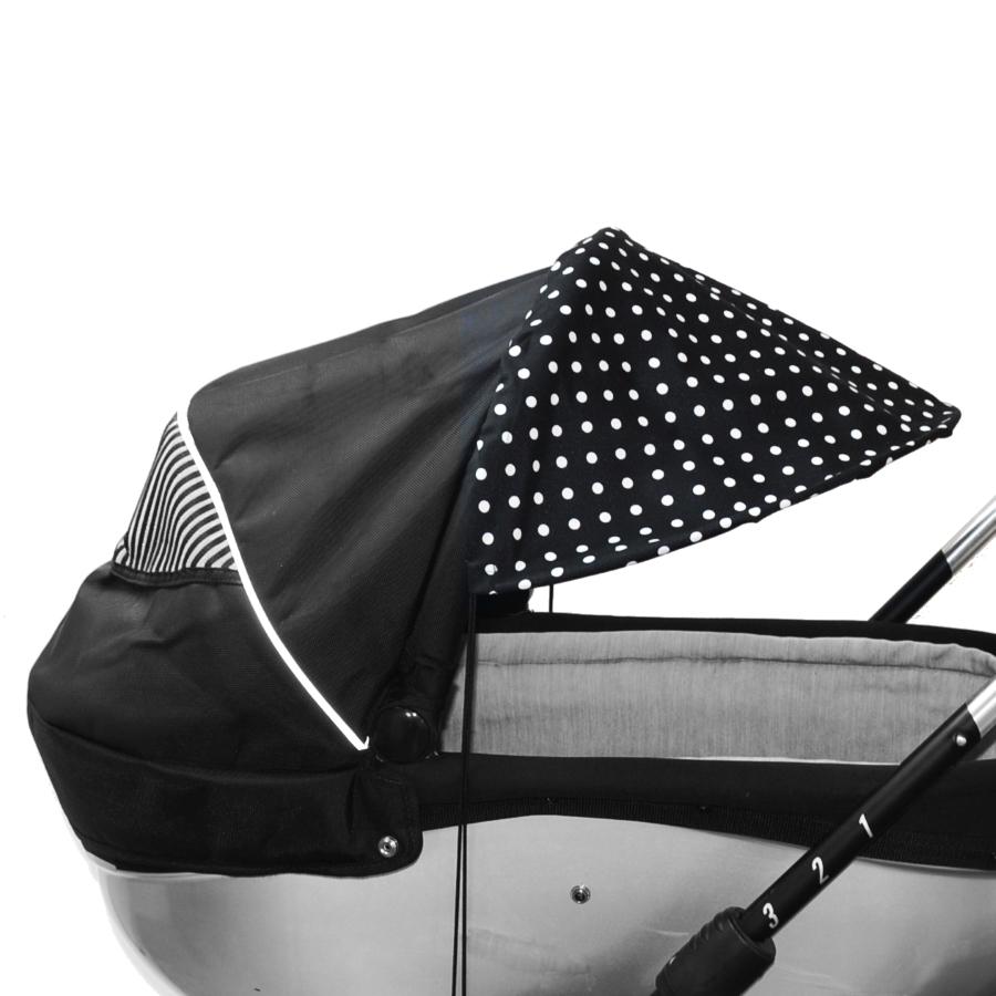 Sluneční kšilt na kočárek s UV filtrem - černý bílé puntíky
