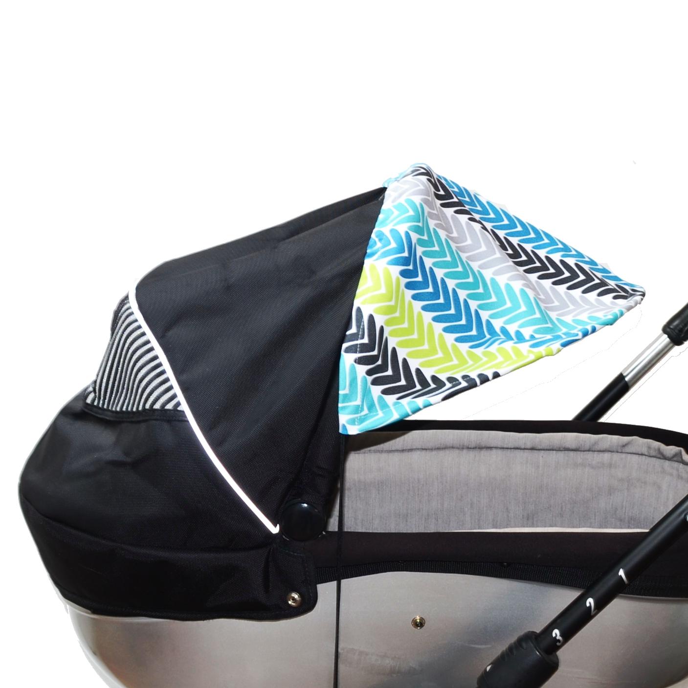 Sluneční kšilt na kočárek s UV filtrem - modré šipky