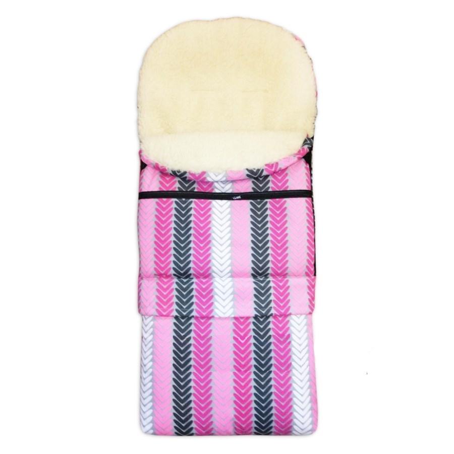 Zimní kombi fusak 3v1 Babytex OVČÍ VLNA - růžové šipky na šedé