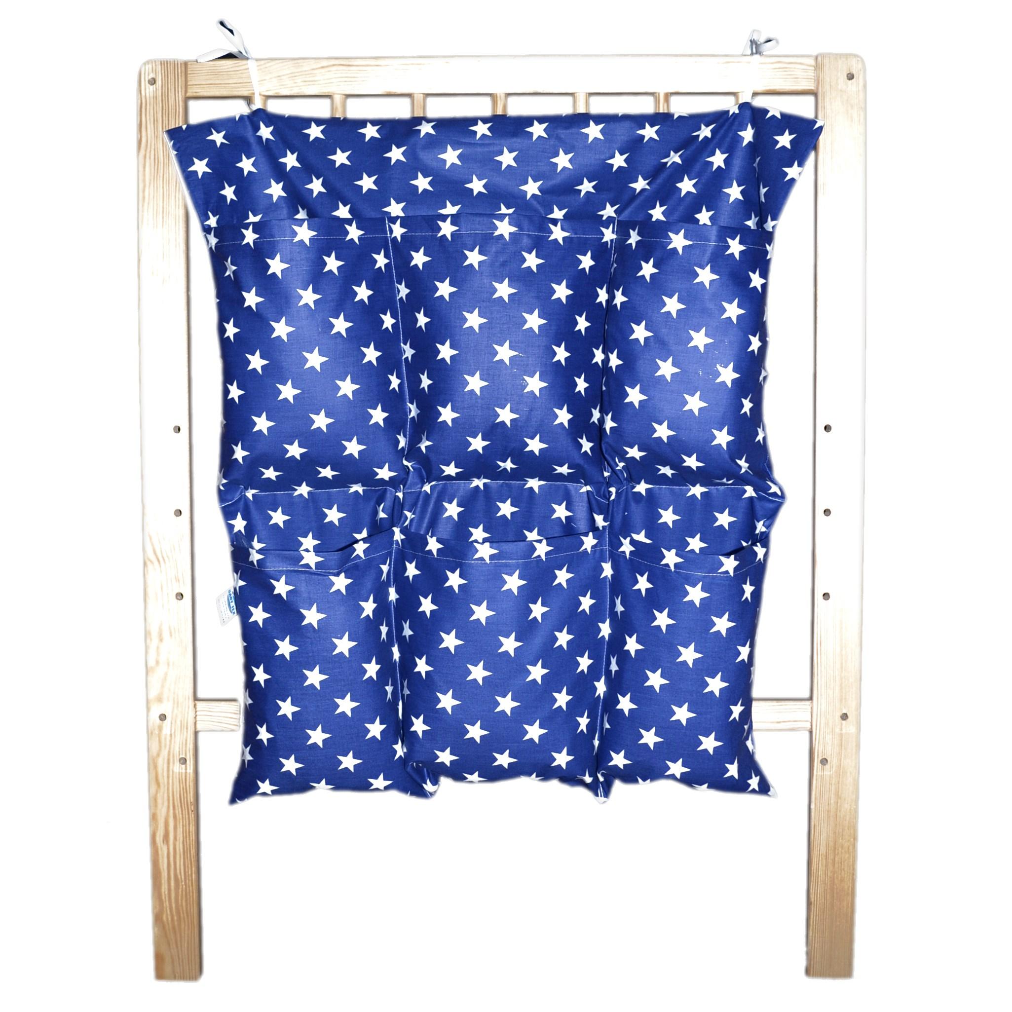 Bavlněný kapsář na postýlku - Tmavě modrý bílé hvězdičky (NA OBJEDNÁVKU)