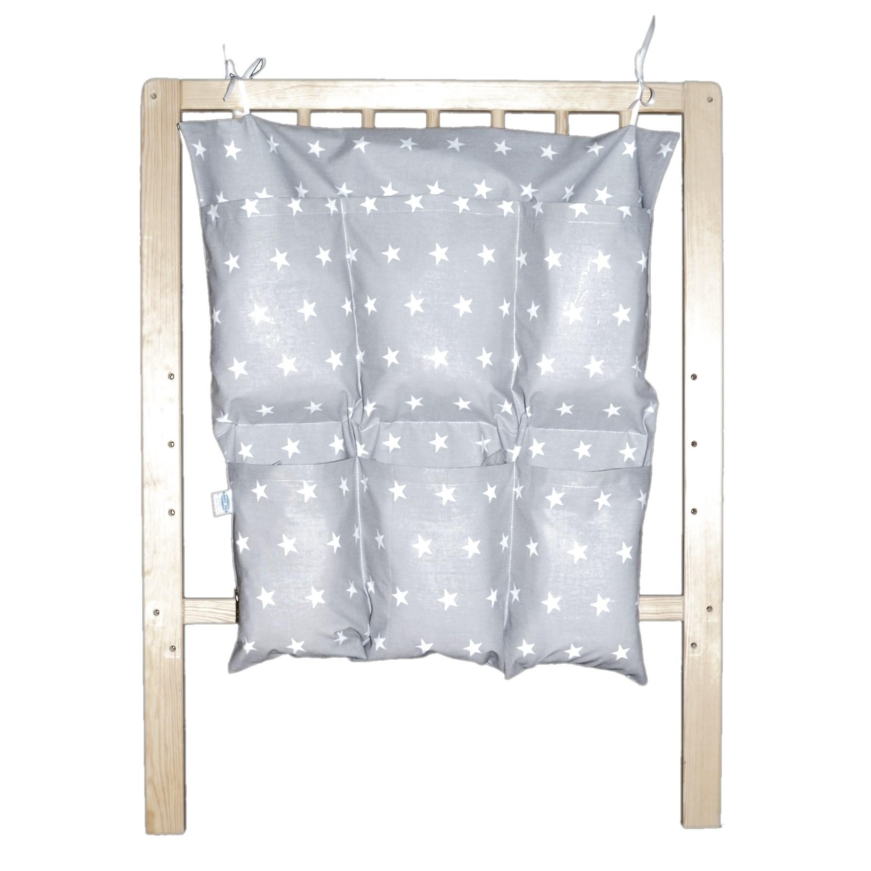 Bavlněný kapsář na postýlku - Bílé hvězdičky na šedé (NA OBJEDNÁVKU)