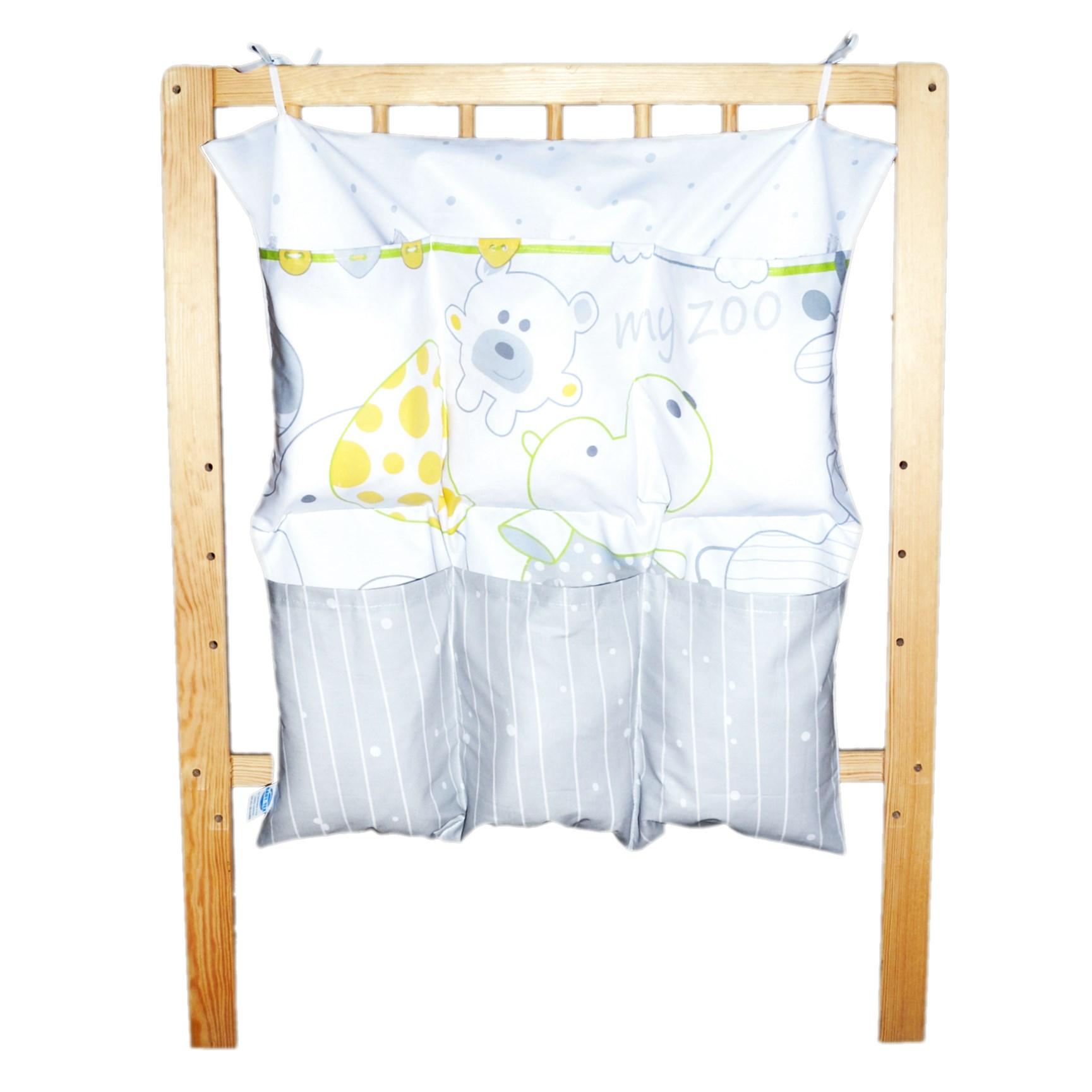 Bavlněný kapsář na postýlku - ZOO bílý šedá, žlutá, zelená (BB7)