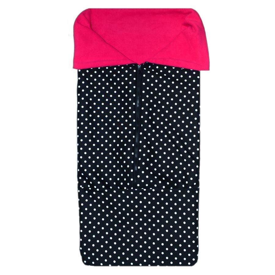 Jarní fusak 2v1 do kočárku - bílé puntíčky na černé sytě růžový fleece 3332aab56e