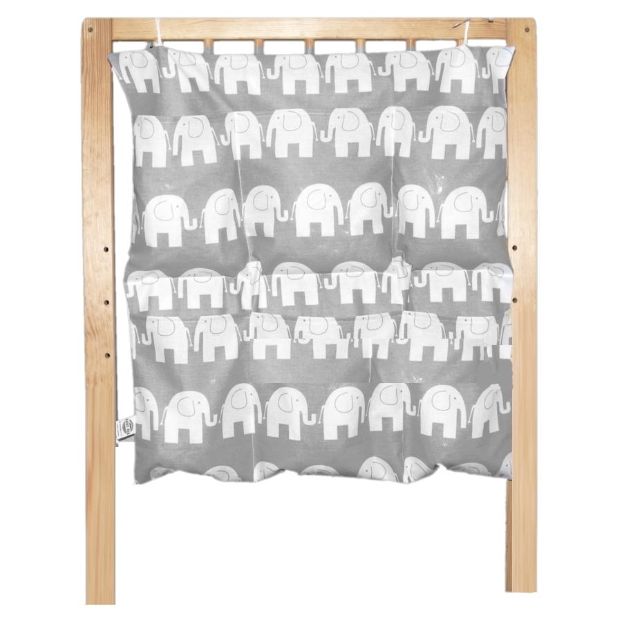 Bavlněný kapsář na postýlku - Sloni na šedé (BB7)