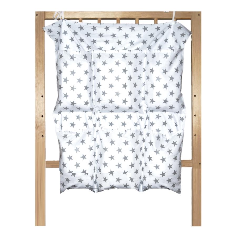 Bavlněný kapsář na postýlku - Šedé hvězdičky na bílé