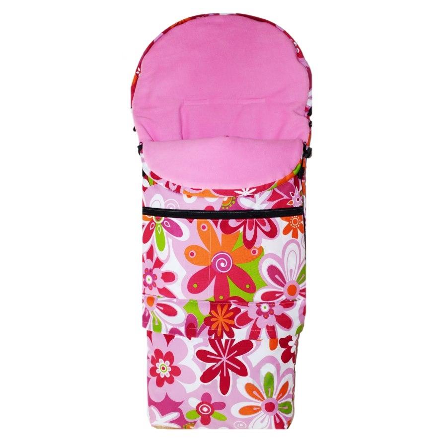 Zimní kombi fusak 3v1 Babytex - růžové květiny/růžový fleece