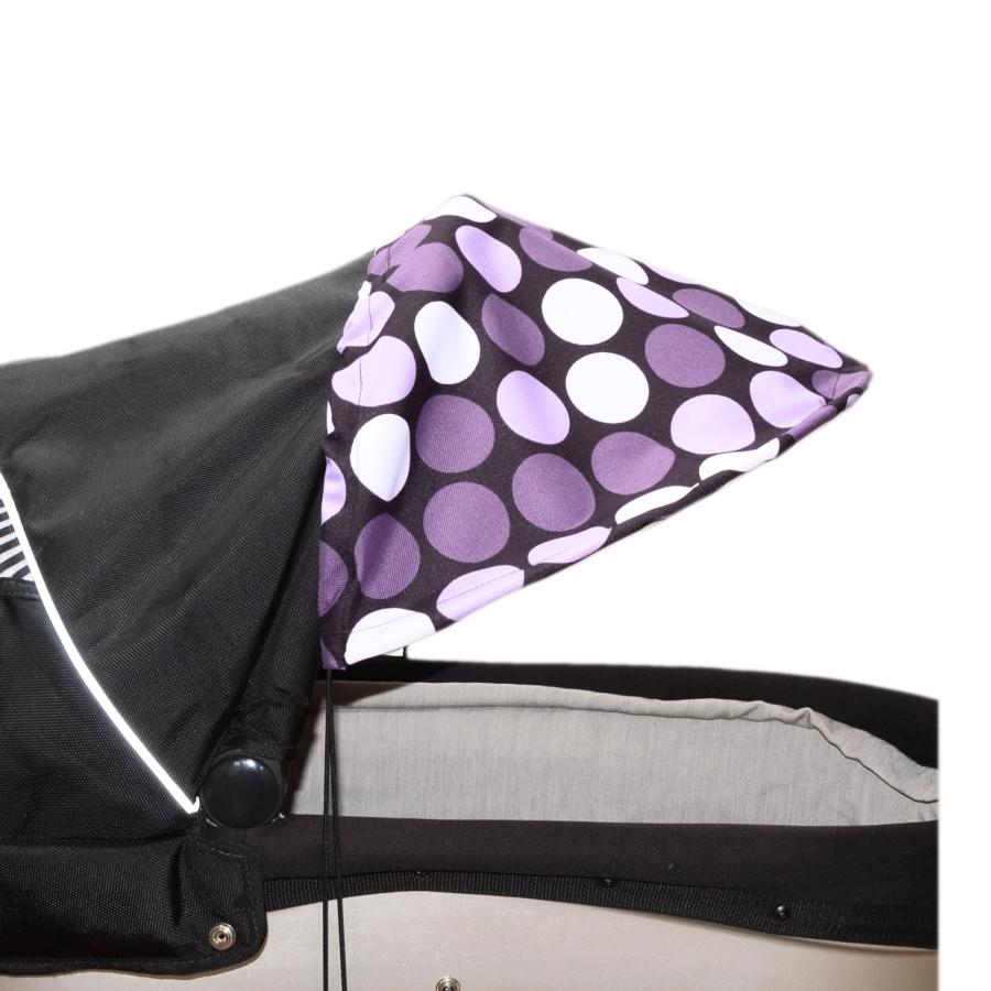 Sluneční kšilt na kočárek s UV filtrem - fialové puntíky