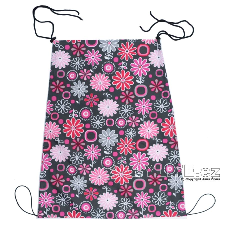 Sluneční clona na kočárek s UV filtrem na šňůrky - růžové květiny na šedé