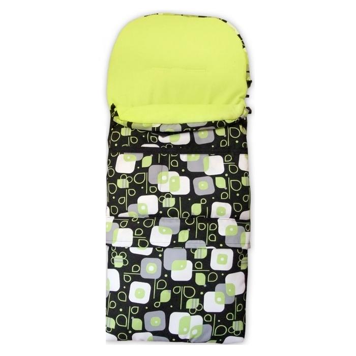Zimní kombi fusak 3v1 Babytex -Zelené čtverce na černé/zelený fleece
