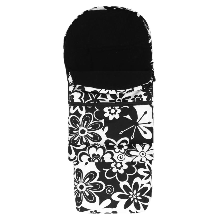 Zimní kombi fusak 3v1 Babytex - černé květiny/černý fleece