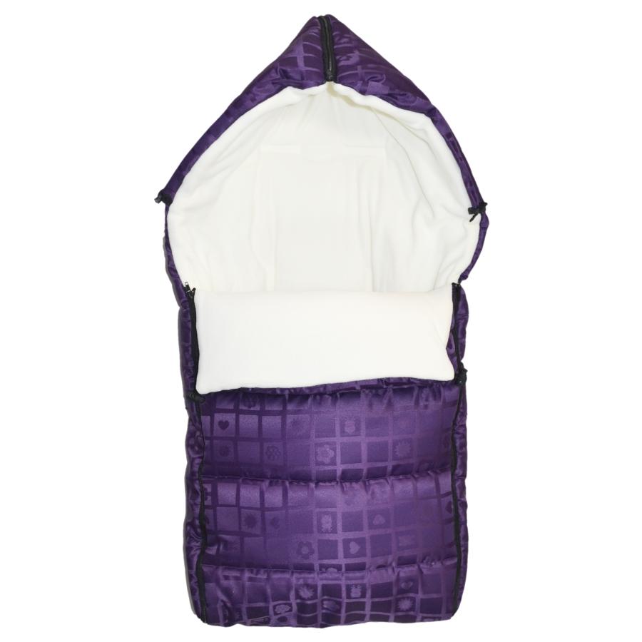 Babytex zimní fusak délka 105cm - fialová s texturou/krémový fleece