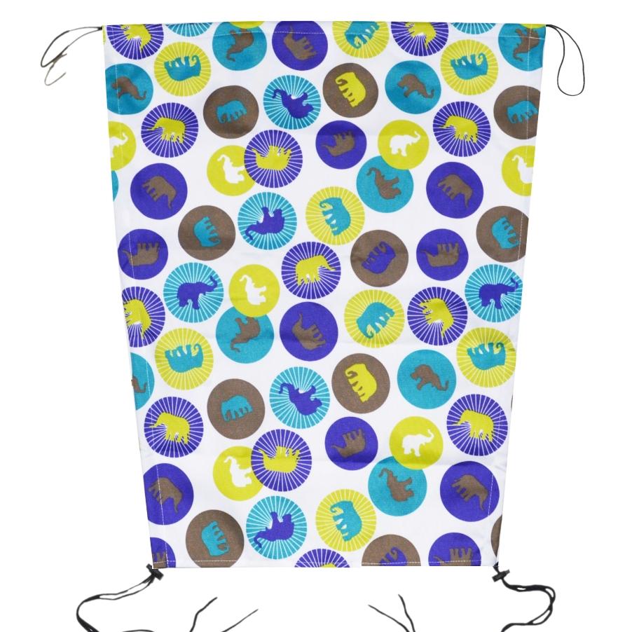 Sluneční clona na kočárek s UV filtrem na šňůrky - modré putníky se slony