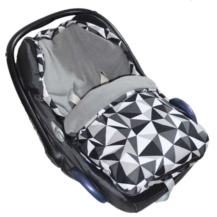 Fusak do autosedačky nebo korbičky - Šedý fleece/šedé trojúhelníky