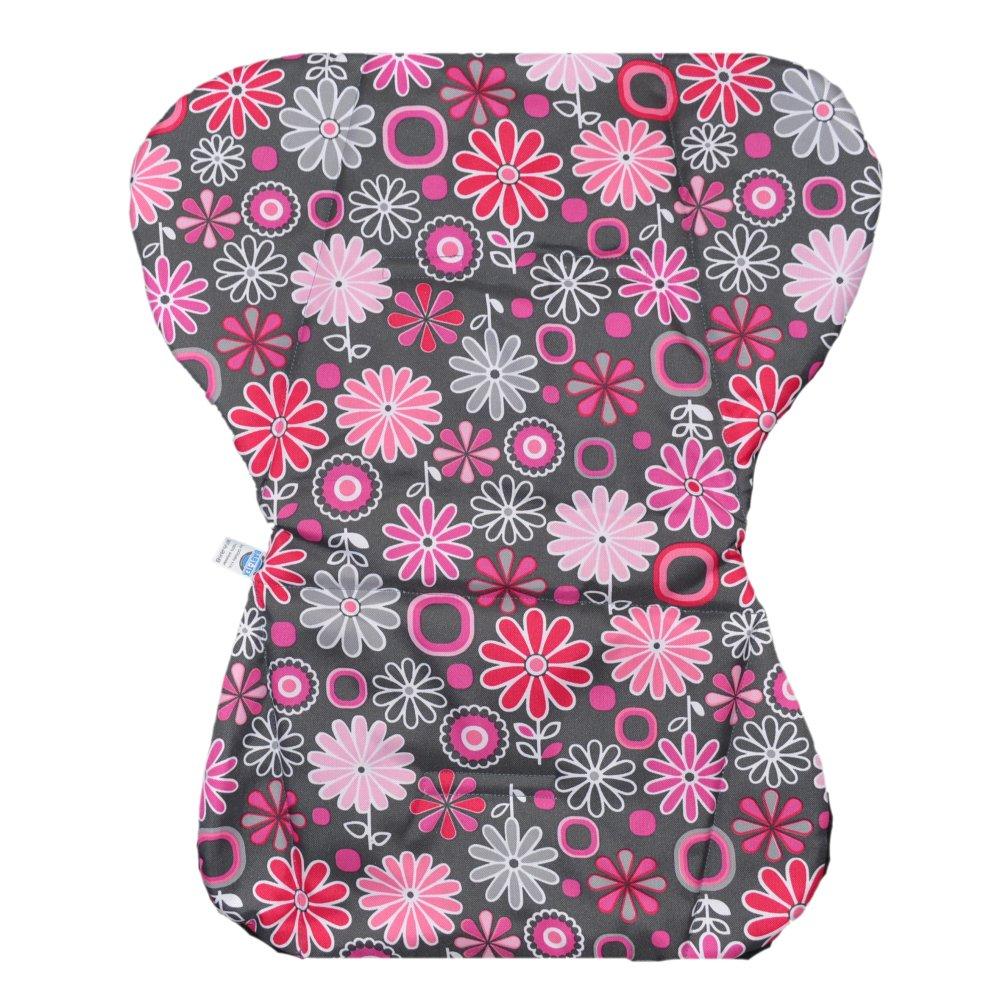 50e5ef0e22c4 Universální podložka do kočárku s bočnicemi - růžové kytičky na tmavě šedé