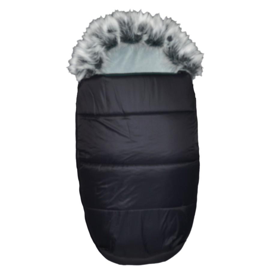 AKCE - EMITEX® Zimní fusak Mumie + kožešina - černý/šedý
