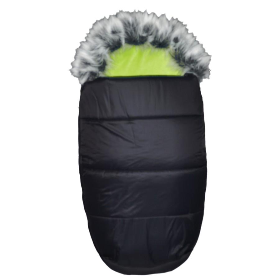 AKCE - EMITEX® Zimní fusak Mumie + kožešina - černý/limeta