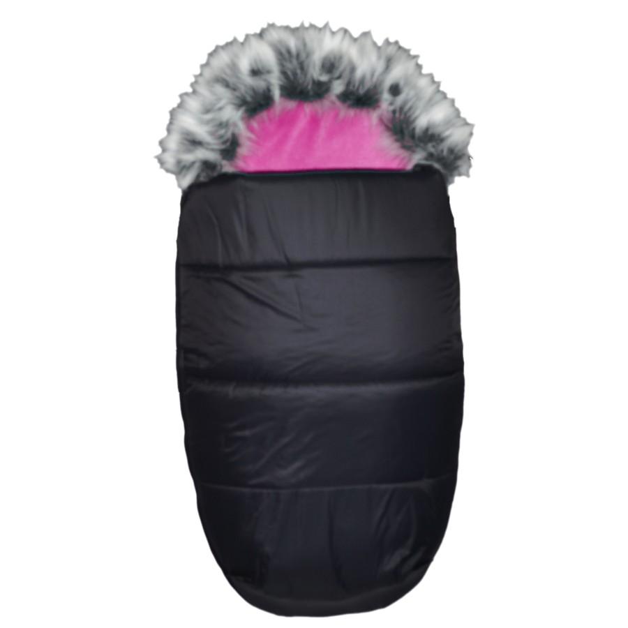 AKCE - EMITEX® Zimní fusak Mumie + kožešina - černý/fuchsie