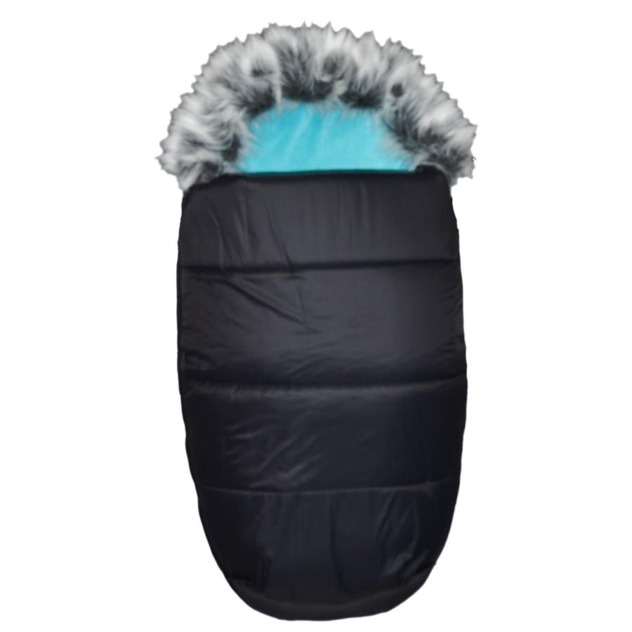 AKCE - EMITEX® Zimní fusak Mumie + kožešina - černý/aqua