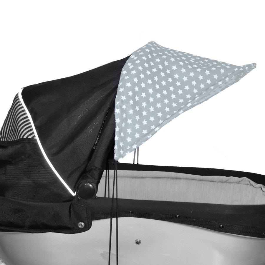 Sluneční kšilt na kočárek s UV filtrem - Šedá hvězdičky