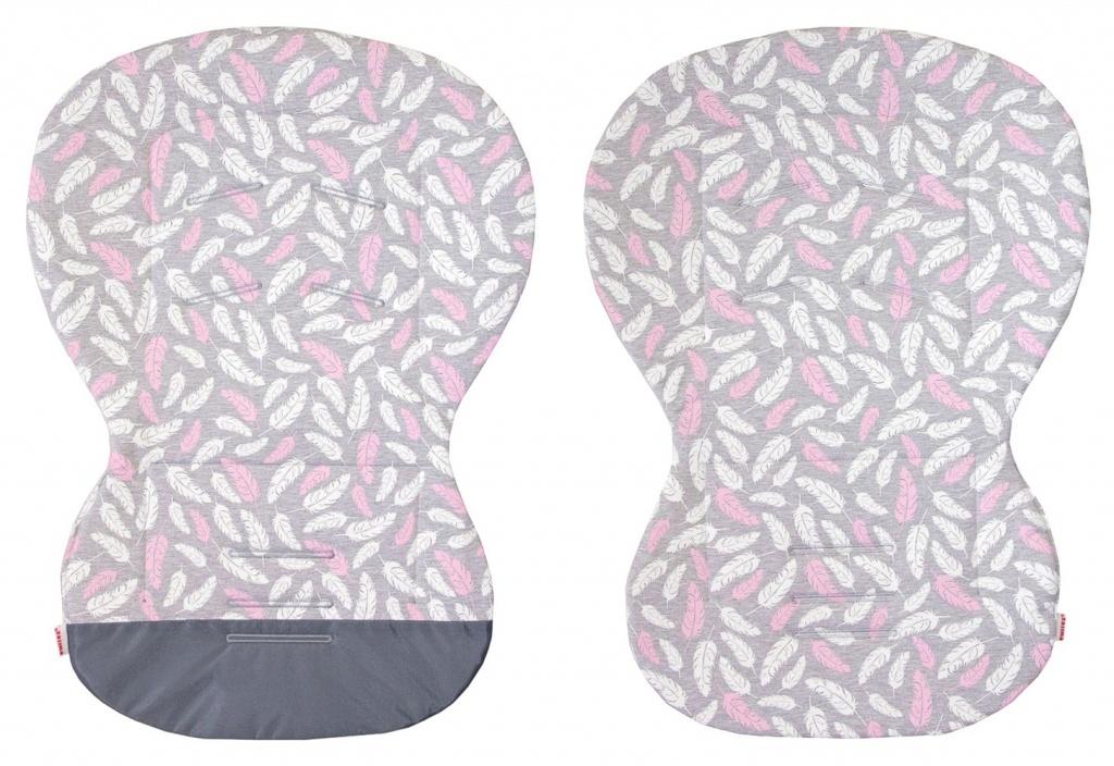 Emitex unipodložka MOBY šedá potisk peříčka růžová